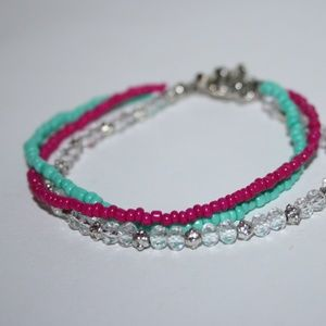 Beautiful pink teal silver toggle bracelet